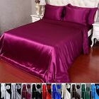 4pcs 40 Momme 100% Pure Silk Duvet Cover Fitted Sheet Pillow Cases Set With Seam