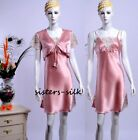 100% Silk Chemise Silk Nighties Silk Sleepwear Pink S M #AS391