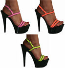 SEXY POLE DANCER STILETTO HEEL NEON RAVE PLATFORM SANDALS SHOES SIZES 3-11 NEW