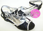 Girls black silver party glitter sandals sparkly occasion holiday shoes