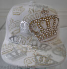 NEW WHITE CROWN BLING HIP HOP FITTED BASEBALL HAT CAPS