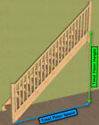 Pine open stair > straight staircase & balustrades
