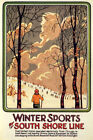 SKI WINTER SPORTS BY SOUTH SHORE LINE CROSS CONTRY SKIING VINTAGE POSTER REPRO