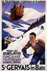 FRENCH SAINT GERVAIS LES BRAINS SKIING FUNICULAIRE CABLE VINTAGE POSTER REPRO