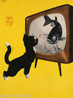 PHILIPS BLACK WHITE TV CAT HUNGER WATCHING FISH ACTUAL FOOD VINTAGE POSTER REPRO