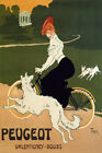 BICYCLE RIDING BIKE DOGS CYCLES PEUGEOT VALENTIGNEY FRANCE VINTAGE POSTER REPRO