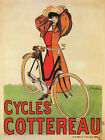 BICYCLE BIKE CYCLES COTTEREAU GIRL FRENCH VINTAGE POSTER REPRO