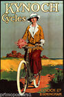 KYNOCH BIRMINGHAM WOMAN FLOWERS BICYCLE REPRO POSTER