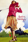 GOLF IN GERMANY WOMAN PLAYING SPORTS TRAVEL TOURISM VINTAGE POSTER REPRO