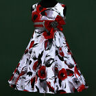w025 w3788 UKG X'mas Birthday White Red Halloween Party Flower Girls Dress 3-13y