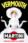 ITALY VERMOUTH MARTINI ROSSI GIRL WHITE DRESS HAT DRINK VINTAGE POSTER REPRO