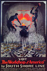 WORKSHOP OF AMERICA INDUSTRY STEEL MILL CHICAGO SOUTH SHORE VINTAGE POSTER REPRO