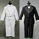 NEW BOYS JACQUARD TUXEDO WITH TAIL BLACK OR WHITE RECITAL WEDDING FORMAL SUIT
