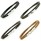 MENS LEATHER BRACELET DOUBLE BRAIDED STERLING SILVER  925