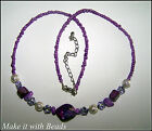 Beaded Necklace Jewellery Making Kit U Pick Purple Blue Pink Red White Green