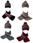 W42 LADIES RETRO FUNKY RIBBED WOOLY WINTER KNITTED BEANIE & SCARF SET 4 COLOURS