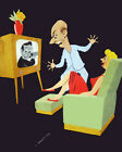 1645 Couple watching television quality POSTER.Decorative Art.DESIGNERS buy here