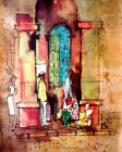 1650 People walking by old building POSTER.Watercolor design Art.Home Decor