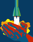 1794 Rocket blast off  from hands quality POSTER. Fun Animated Decorative Art.