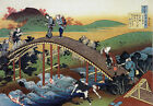 "Travellers on the bridge near the by bridge Hokusai - 20""x26"" Japanese Art"