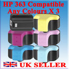 ANY 3 X HP 363 COMPATIBLE BLACK CYAN YELLOW MAGENTA PRINTER INK CARTRIDGES