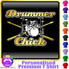 Drum Kit and Sticks Drummer Chick - Music T Shirt 5yrs - 6XL by MusicaliTee