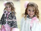 Pink Bow Baby Girl Fluff Reversible Zebra Print Petti Shawl Coat Scarf 6m-6Y