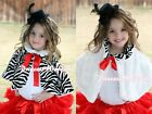 Red Bow Baby Girl Fluff Reversible Zebra Print Petti Shawl Coat Wrap Scarf 6m-6Y