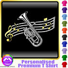 Tenor Horn Curved Stave - Personalised Music T Shirt 5yrs-6XL MusicaliTee 2