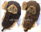LADIES WOMENS COUNTRY TWEED TRAPPER HAT FAUX FUR TRIM RUSSIAN SKI THERMAL HAT