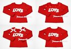 Sparkle LOVE Printing Red Long Sleeve Pettitop Tank Top For Pettiskirt 1-8Year