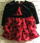 NEW Infant 3 piece RED SATIN & VELVET DRESS w RUFFLES, JACKET & BLOOMERS 6-9M