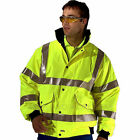 Hi Viz Breathable Waterproof Work Super Bomber Jacket Coat Mens SIA CLICK B SEEN