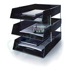 3 x Letter Filing Trays In/Out + Risers, Complete Set, Colour Choice, Fast Post