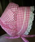 Baby Toddler Bonnet, Sunbonnet hat Bright Pink Gingham sz nb,3,6,9,12,18 24 mo