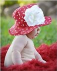 New Cotton Baby Toddler Girls Sun Hat Red White Dots With Flower Wide Brimmed
