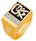 10K or 14K  Yellow White Gold 0.28C Diamonds Solid Back Masonic Freemason Ring