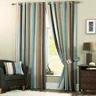 Dreams n Drapes Duck Egg Whitworth Ready Made Stripe Eyelet Ring Top Curtains