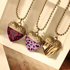 Retro Vintage Leopard Zebra  Love Heart Shape Pendant Nacklace 3 Colors