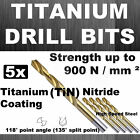 5 x HSS FULLY GROUND TITANIUM NITRIDE COATING (+500%) DRILLS DRILL BITS ( TiN )