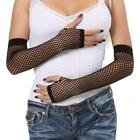 AL 2 - Gothic Wear Fishnet Fingerless Gloves Black / White One Size Fits S M L