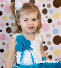 White Petti Tank Top Shirt Bunch of Peacock Turquoise Blue Rosette Bow 1-8Year