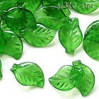 50pcs Acrylic Leaf Beads, 20x12mm