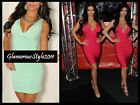 ★ USA* CELEBRITY INSPIRED V NECK PINK MINT GREEN ZIPPER BANDAGE DRESS S M L ★