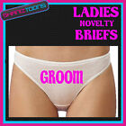 LADIES KNICKERS BRIEFS PERSONALISED LADS STAG PARTY GROOM FUNNY GIFT
