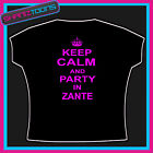 KEEP CALM AND PARTY IN ZANTE CLUBBING HOLIDAY TSHIRT