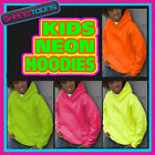 KIDS NEON FLUORESCENT ELECTRIC BRIGHT CHILDS CHILDRENS HOODIE HOODY