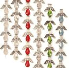 "Crystal Angel Beads Faceted Glass Strand Silver Wings Halos 5/8"" Angels"
