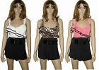 NEW WOMENS LADIES RUFFLE BELTED PLAYSUIT JUMPSUIT SHORTS DRESSES TOPS 8-14
