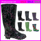 NEW WOMEN LADIES FESTIVAL FUNKY RETRO FASHION WELLIES WELLY WELLINGTON BOOTS 3-8